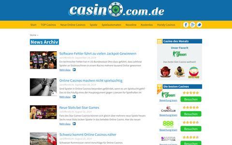 Screenshot of Press Page casino.com.de - news archive   latest news - captured Sept. 23, 2014