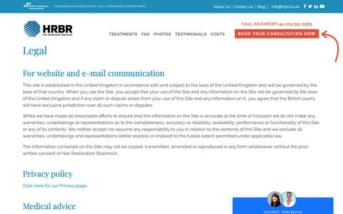 Screenshot of Terms Page hrbr.co.uk - Legal Disclaimer & Privacy Policy - captured Sept. 26, 2018