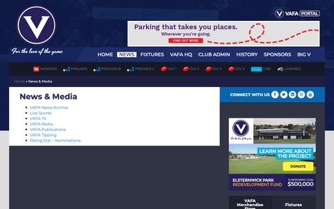 Screenshot of Press Page vafa.com.au - News & Media | VAFA - captured Oct. 18, 2018