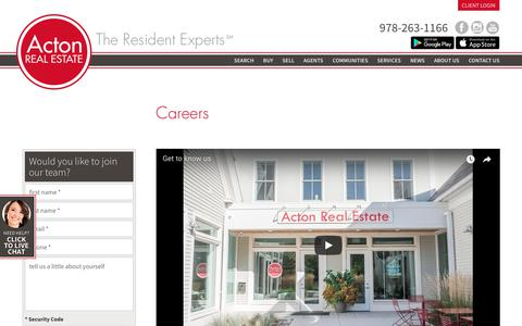 Screenshot of Jobs Page acton-realestate.com - Real Estate Careers in Acton - captured Oct. 3, 2018