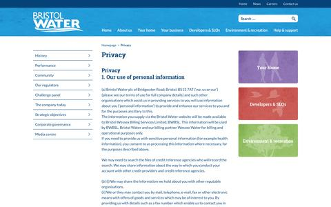 Screenshot of Privacy Page bristolwater.co.uk - Privacy | Bristol Water - captured Nov. 23, 2016