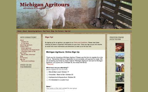 Screenshot of Signup Page michiganagritours.com - Michigan Agritours » SignUp! - captured Sept. 26, 2014