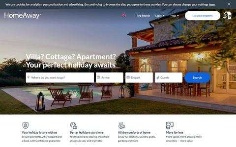 Screenshot of Home Page homeaway.co.uk - HomeAway.co.uk | Book your holiday lettings: villas, apartments, cottages - captured Feb. 17, 2019