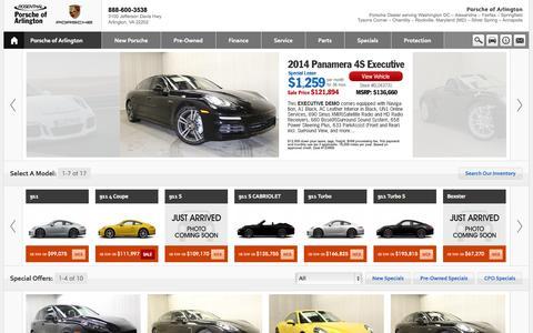 Screenshot of Home Page Contact Page Menu Page Hours Page porscheofarlington.com - Porsche of Arlington - Arlington VA - captured Sept. 30, 2014