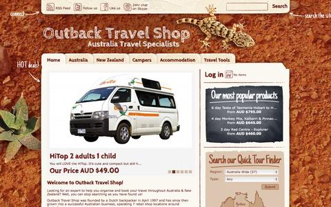 Screenshot of Home Page outbacktravelshop.com.au - Home » Outback Travel Shop - captured Oct. 7, 2014