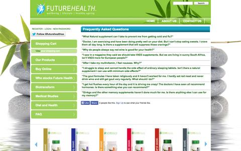 Screenshot of FAQ Page futurehealthsa.co.za - Frequently Asked Questions | Futurehealth - captured Oct. 6, 2014