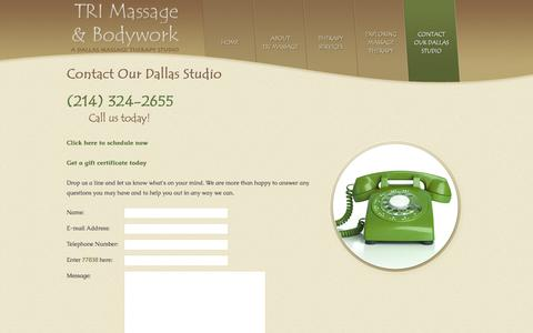 Screenshot of Contact Page Maps & Directions Page massage-therapy-dallas.com - Dallas Massage Therapy Studios: TRI Massage & Bodywork, Dallas Texas - captured Nov. 9, 2017