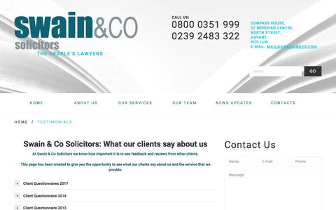 Screenshot of Testimonials Page swainandco.com - Testimonials - Swain & Co Solicitors - Havant/Portsmouth, Southampton, Liverpool - The people's lawyersSwain & Co Solicitors – Havant/Portsmouth, Southampton, Liverpool - captured April 25, 2018