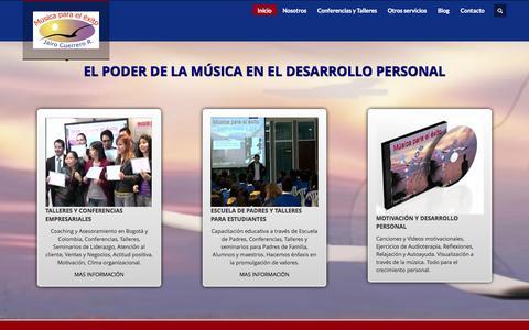 Screenshot of Home Page musicaparaelexito.com - MUSICA    PARA    EL    EXITO        Lo mejor en Motivación, asesoría empresarial y servicios musicales - captured Oct. 7, 2014