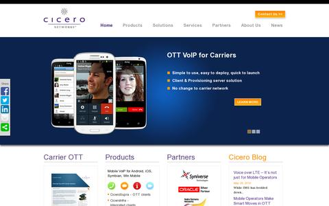 Screenshot of Home Page ciceronetworks.com - Mobile VoIP & Fixed Mobile Convergence - Cicero Networks - captured July 17, 2014