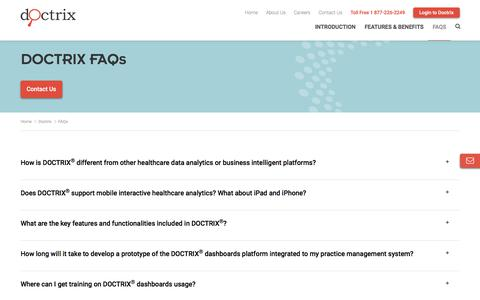 Screenshot of FAQ Page synergenhealth.com - SYNERGEN - Doctrix FAQs - captured Sept. 15, 2019
