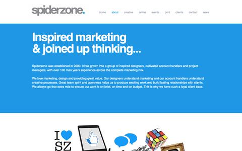 Screenshot of About Page spiderzone.co.uk - ABOUT SPIDERZONE | MARKETING AGENCY | DESIGN AGENCY | DROITWICH UK - captured Oct. 18, 2018