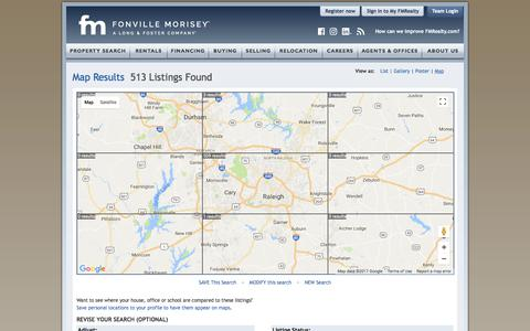 Screenshot of Maps & Directions Page fmrealty.com - Raleigh Durham Real Estate Interactive Map | Fonville Morisey Real Estate - captured Oct. 16, 2017