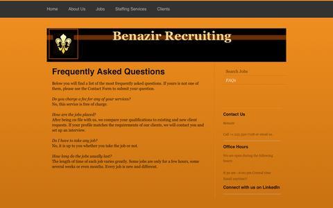 Screenshot of FAQ Page benazir.co - Benazir - FAQs - captured Oct. 5, 2014