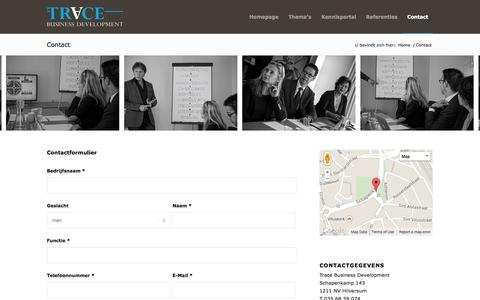 Screenshot of Contact Page tracebd.nl - Trace     Contact - captured Oct. 7, 2014