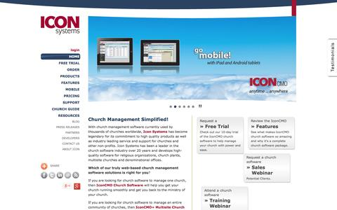 Screenshot of Home Page iconcmo.com - Church Software-The IconCMO Church Management Cloud Solution - captured Oct. 10, 2014