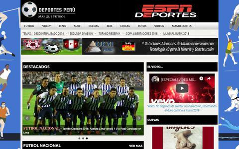 Screenshot of Home Page deportesperu.pe - Deportes Peru   Todos los deportes en un solo lugar - captured Oct. 25, 2018