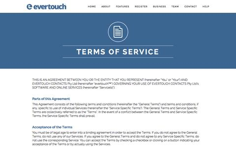 Screenshot of Terms Page evertouchcontacts.com - evertouch Terms of Service - captured Nov. 2, 2014