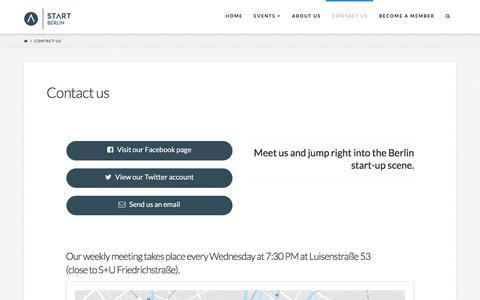 Screenshot of Contact Page start-berlin.com - Contact us | START Berlin - captured Sept. 23, 2017