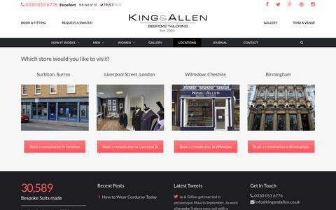 Screenshot of Locations Page kingandallen.co.uk - Find Suit Tailors Near Me | Suit Fitting | King & Allen - captured Oct. 17, 2017