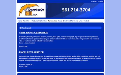 Screenshot of Testimonials Page electricbillinc.com - Electric Bill, Inc. - Professional Electrical Services - Testimonials - captured July 17, 2018