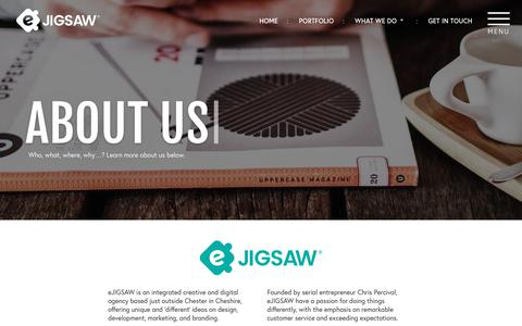 Screenshot of About Page ejigsaw.co.uk - About Us | eJIGSAW® | Creative & Digital Agency in Chester & London - captured Sept. 19, 2017