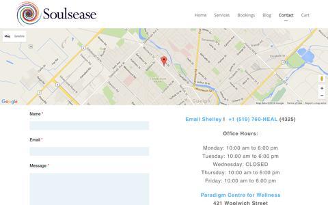 Screenshot of Contact Page soulsease.com - Contact - captured Feb. 26, 2016
