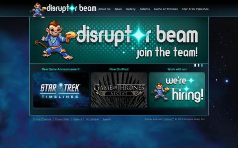 Screenshot of Home Page disruptorbeam.com - Game of Thrones Ascent Social Game | Disruptor Beam - captured July 17, 2014