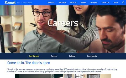 Screenshot of Jobs Page sizmek.com captured Jan. 29, 2016