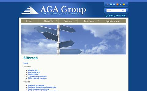 Screenshot of About Page Services Page Site Map Page agagroupllc.com - AGA Group - Full service tax, accounting and business consulting firm located in Lanham, MD - captured Oct. 4, 2014