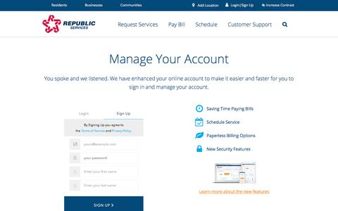 Screenshot of Signup Page republicservices.com - Login to Your My Resource Account | Republic Services - captured Oct. 19, 2017