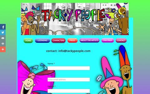 Screenshot of Contact Page tackypeople.com - Contact - captured Oct. 27, 2014