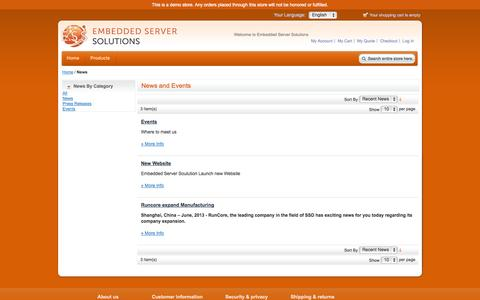 Screenshot of Press Page embeddedserversolutions.com - ESS News & Events / ESS Embedded Server Solutions News - captured Oct. 28, 2014