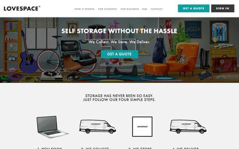 Screenshot of Home Page lovespace.co.uk - Convenient, Cheap Storage, London & UK-wide | LOVESPACE - captured Nov. 29, 2018