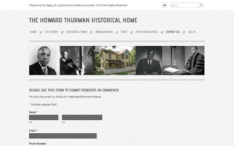 Screenshot of Contact Page howardthurmanhome.org - Contact Us - The Howard Thurman Historical Home - captured April 24, 2018