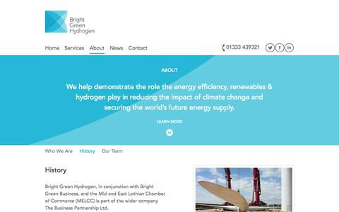 Screenshot of About Page brightgreenhydrogen.org.uk - History - Bright Green Hydrogen / Hydrogen Office - captured Oct. 5, 2014