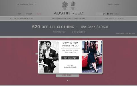 Screenshot of Home Page austinreed.com - Austin Reed | Men's and Women's Suits, Tailoring & Clothing - captured Feb. 6, 2016