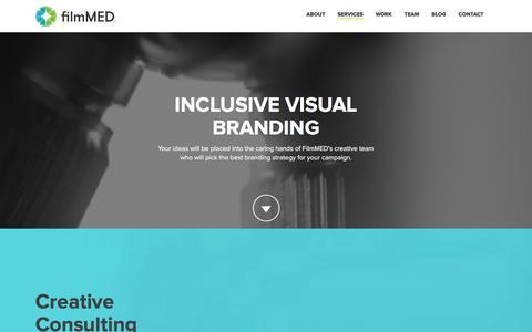 Screenshot of Services Page filmmed.com - 360 degree Branding | FilmMed - captured Jan. 8, 2016