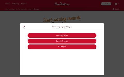 Screenshot of Signup Page timhortons.com - Tim Hortons: Sign Up - captured Jan. 24, 2020