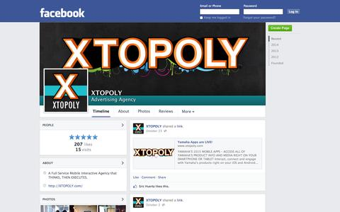 Screenshot of Facebook Page facebook.com - XTOPOLY - Santa Ana, CA - Advertising Agency | Facebook - captured Oct. 26, 2014