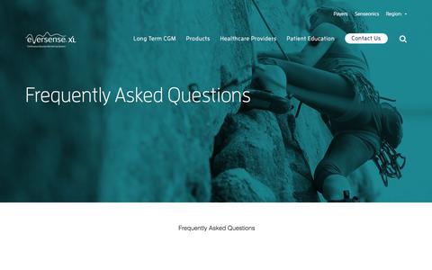 Screenshot of FAQ Page eversensediabetes.com - Frequently Asked Questions | Senseonics - captured July 7, 2019