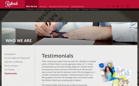 Screenshot of Testimonials Page redbrush.com - Redbrush : Who We Are : Testimonials - captured Oct. 9, 2014