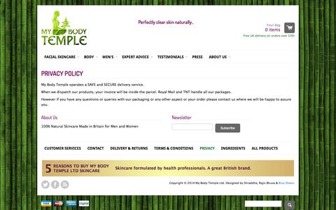 Screenshot of Privacy Page mybodytemple.co.uk - My Body Temple - Privacy Policy - captured Oct. 1, 2014