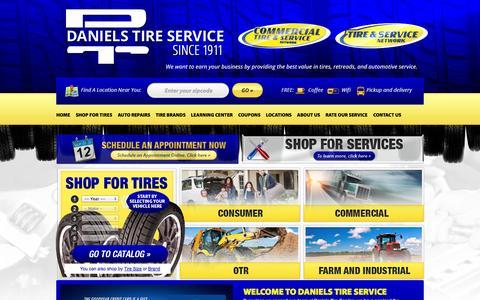 Screenshot of Home Page danielstireservice.com - Daniels Tire Service :: Locations in California | Tires & Auto Repair - captured Sept. 30, 2014