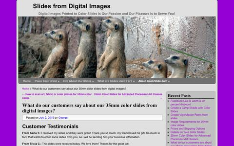 Screenshot of Testimonials Page colorslide.com - What do our customers say about our 35mm color slides - captured Jan. 22, 2017