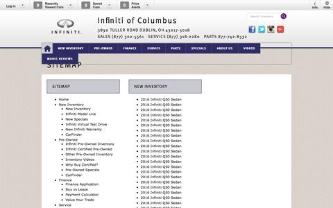Screenshot of Site Map Page infinitiofcolumbus.com - Infiniti of Columbus   New Inventory for sale in Dublin, OH 43017-5018 - captured June 18, 2016
