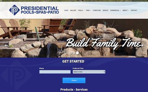Screenshot of Home Page presidentialpools.com - Presidential Pools & Spas in Tucson & Phoenix AZ | Hot Tubs, Custom Swimming Pools - captured Feb. 24, 2016