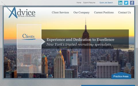 Screenshot of Home Page adviceny.com - Home » Advice - captured Oct. 4, 2014