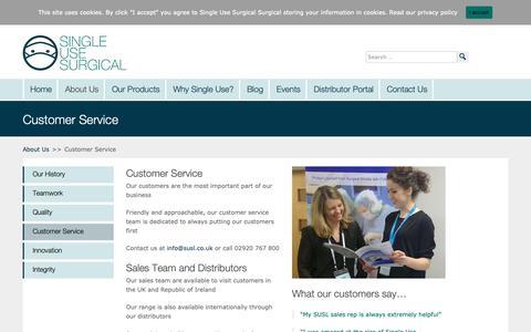 Screenshot of Support Page susl.co.uk - Customer Service | Single Use Surgical - captured Nov. 12, 2018