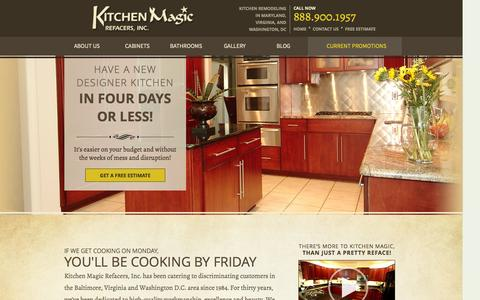 Screenshot of Home Page kitchenmagic.net - Cabinet Refacing Baltimore | Kitchen & Bathroom Cabinets Maryland - captured Oct. 6, 2014
